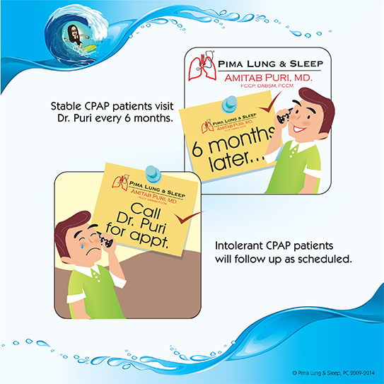Stable CPAP patients visit Dr. Puri every 6 months. Intolerant CPAP patients will folllow up as scheduled.